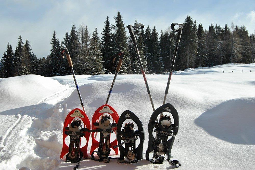 4 Paar Schneeschuhe, bereit zum Wandern. Rodenecker Alm Südtirol